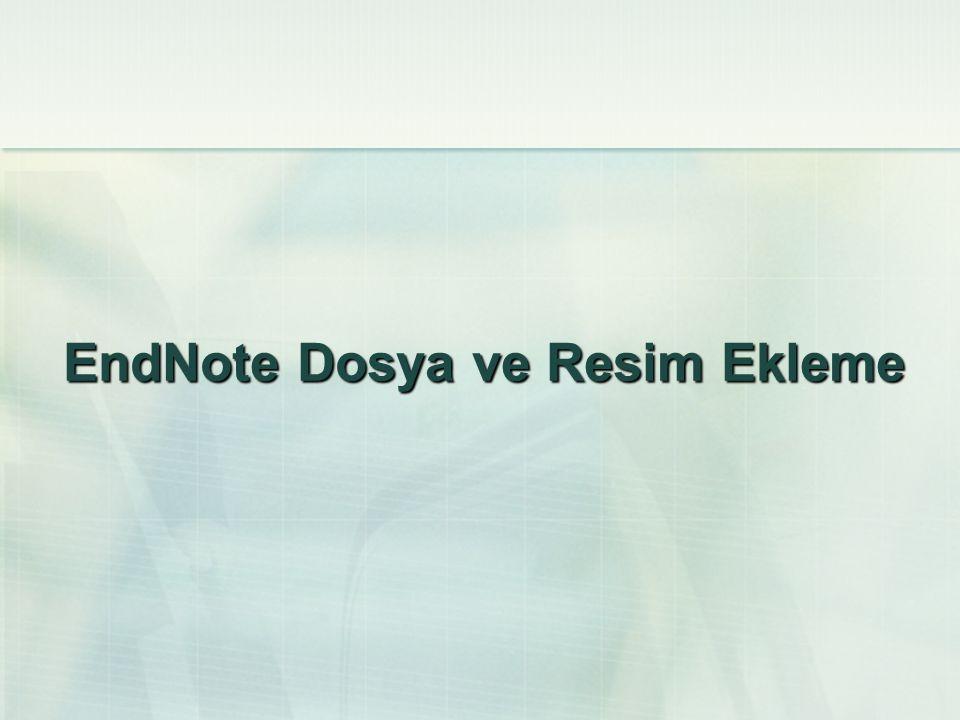 EndNote Dosya ve Resim Ekleme