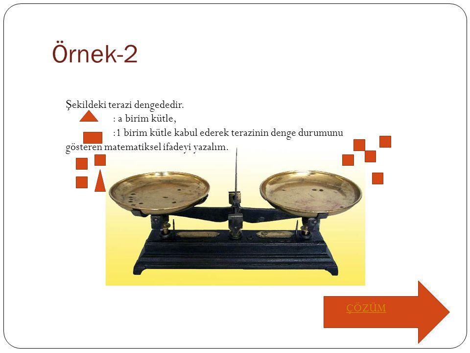 Örnek-2 Şekildeki terazi dengededir. : a birim kütle,