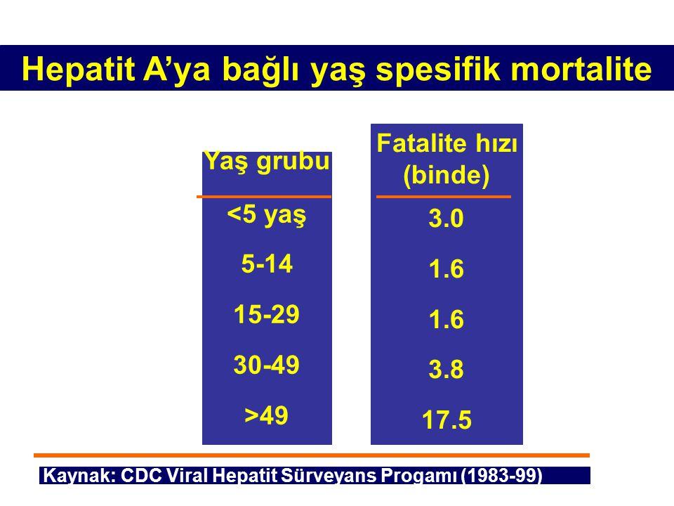 Hepatit A'ya bağlı yaş spesifik mortalite