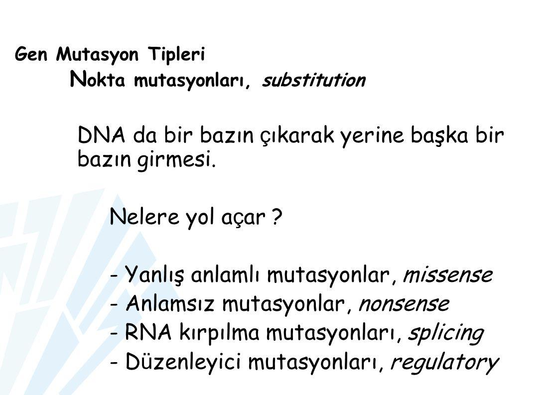 Gen Mutasyon Tipleri Nokta mutasyonları, substitution