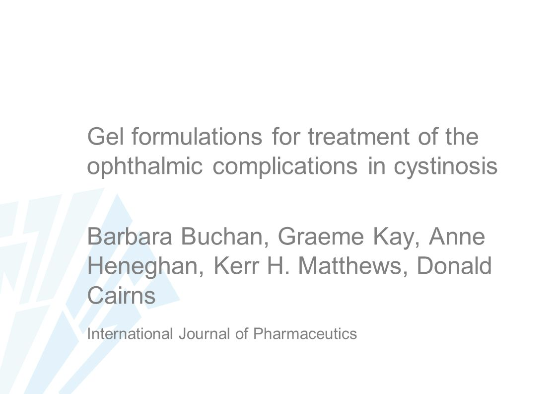 Gel formulations for treatment of the ophthalmic complications in cystinosis