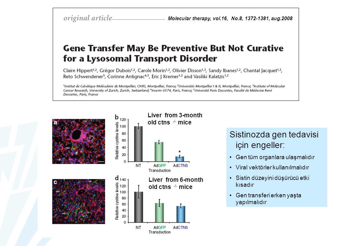 Sistinozda gen tedavisi için engeller: