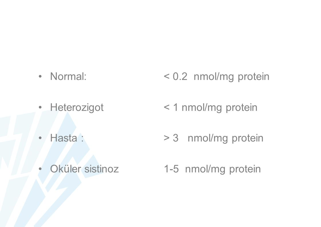 Normal: < 0.2 nmol/mg protein