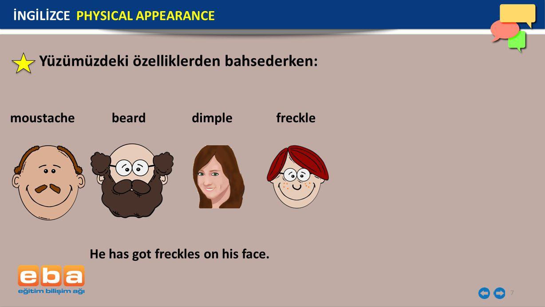 Yüzümüzdeki özelliklerden bahsederken: