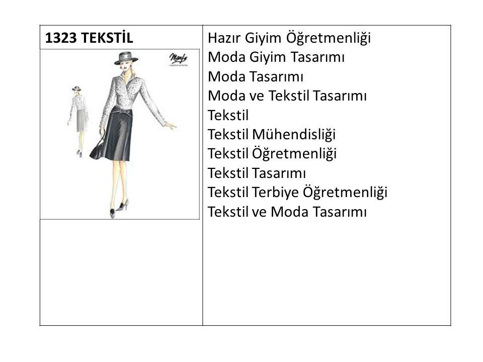1323 TEKSTİL Hazır Giyim Öğretmenliği. Moda Giyim Tasarımı. Moda Tasarımı. Moda ve Tekstil Tasarımı.