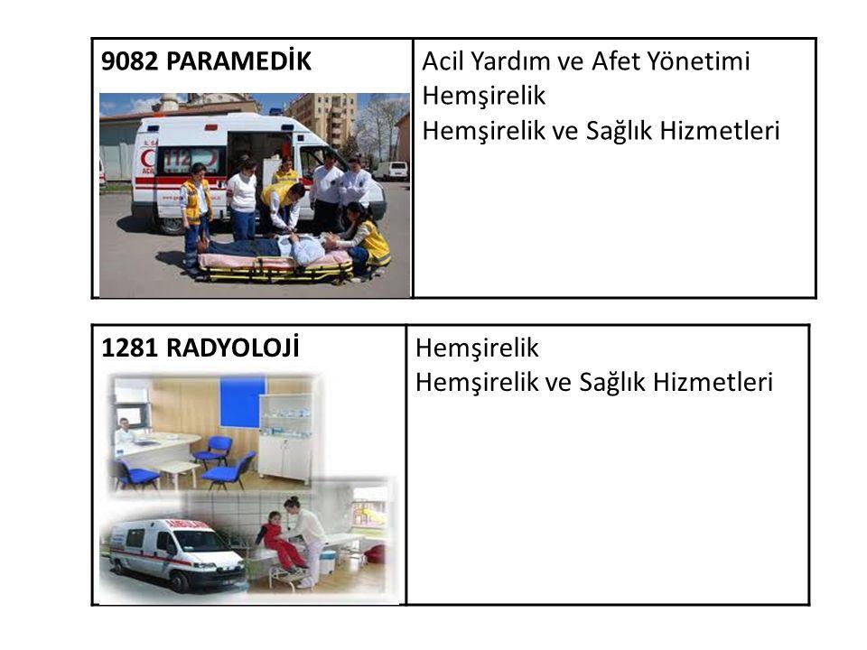 9082 PARAMEDİK Acil Yardım ve Afet Yönetimi. Hemşirelik. Hemşirelik ve Sağlık Hizmetleri. 1281 RADYOLOJİ.