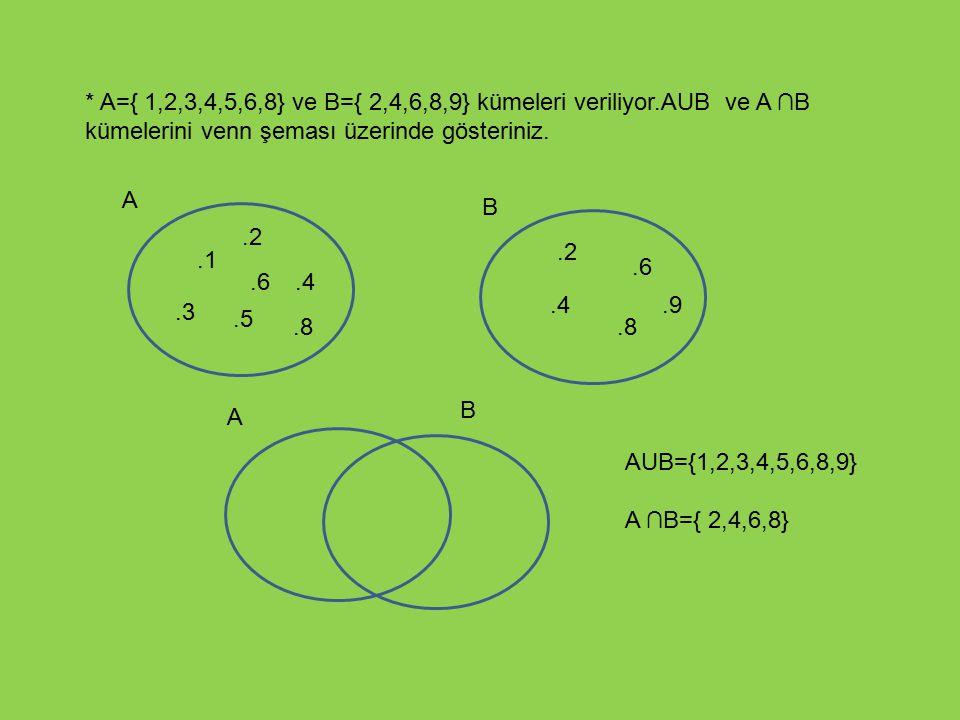 A={ 1,2,3,4,5,6,8} ve B={ 2,4,6,8,9} kümeleri veriliyor