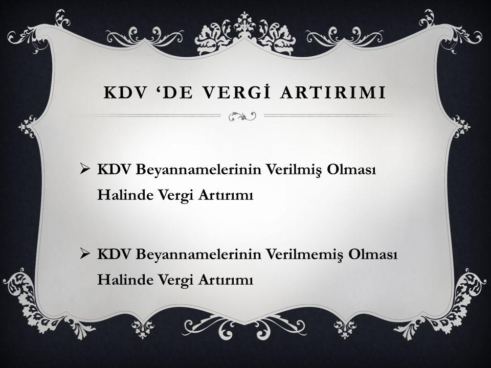 KDV 'de VERGİ ARTIRIMI KDV Beyannamelerinin Verilmiş Olması Halinde Vergi Artırımı.