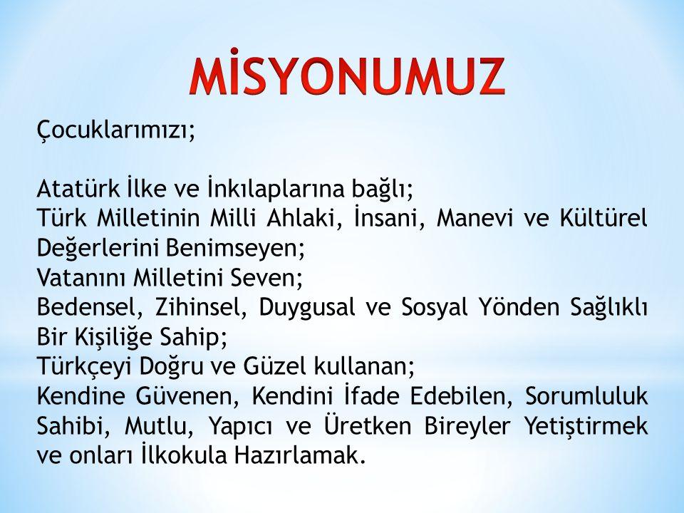 MİSYONUMUZ Çocuklarımızı; Atatürk İlke ve İnkılaplarına bağlı;