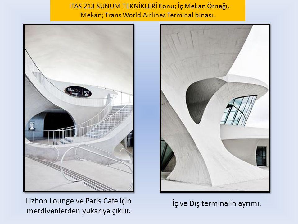 Lizbon Lounge ve Paris Cafe için merdivenlerden yukarıya çıkılır.