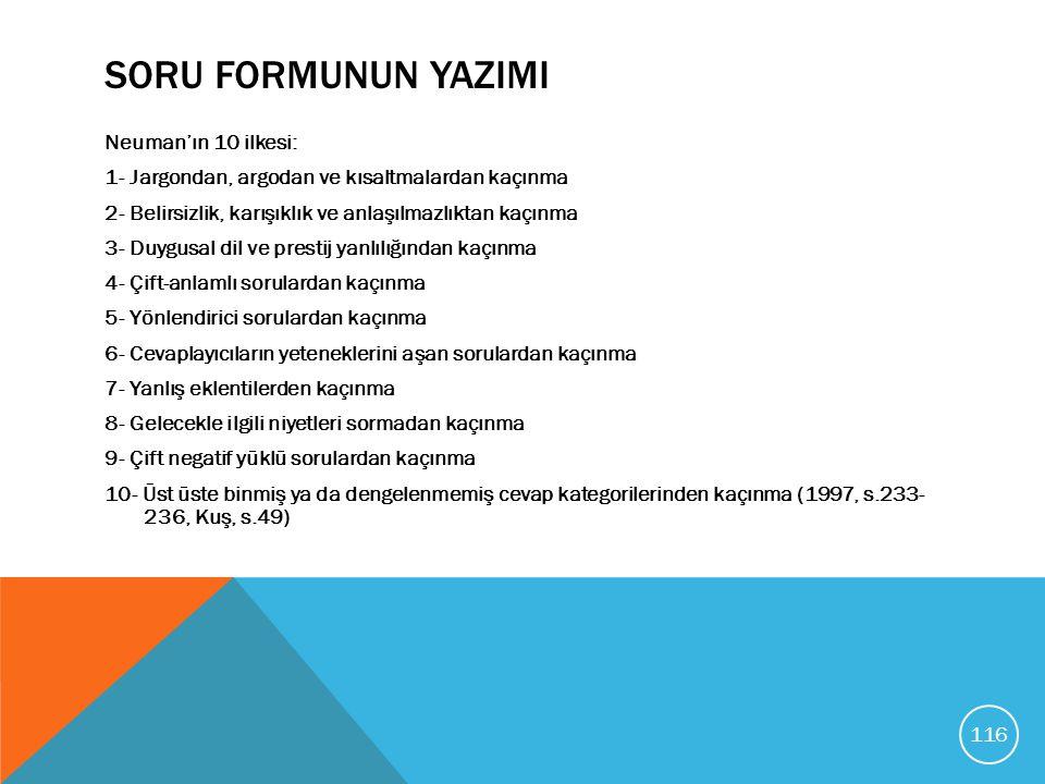 SORU FORMUNUN YAZIMI