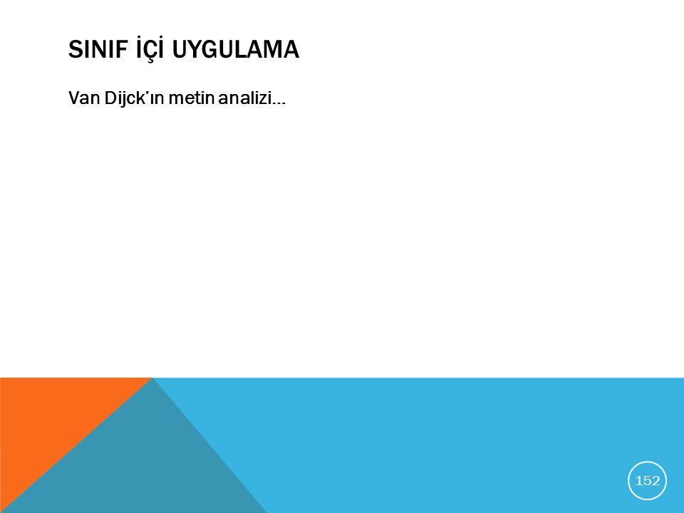 SINIF İÇİ UYGULAMA Van Dijck'ın metin analizi…