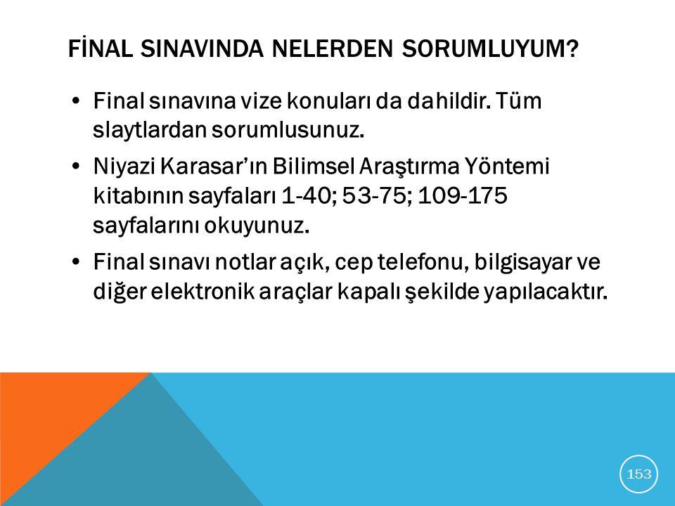 FİNAL SINAVINDA NELERDEN SORUMLUYUM