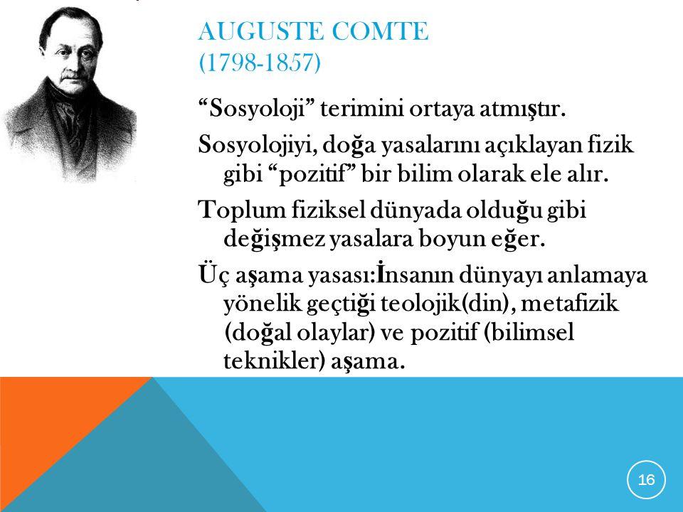 AUGUSTE COMTE (1798-1857) Sosyoloji terimini ortaya atmıştır.