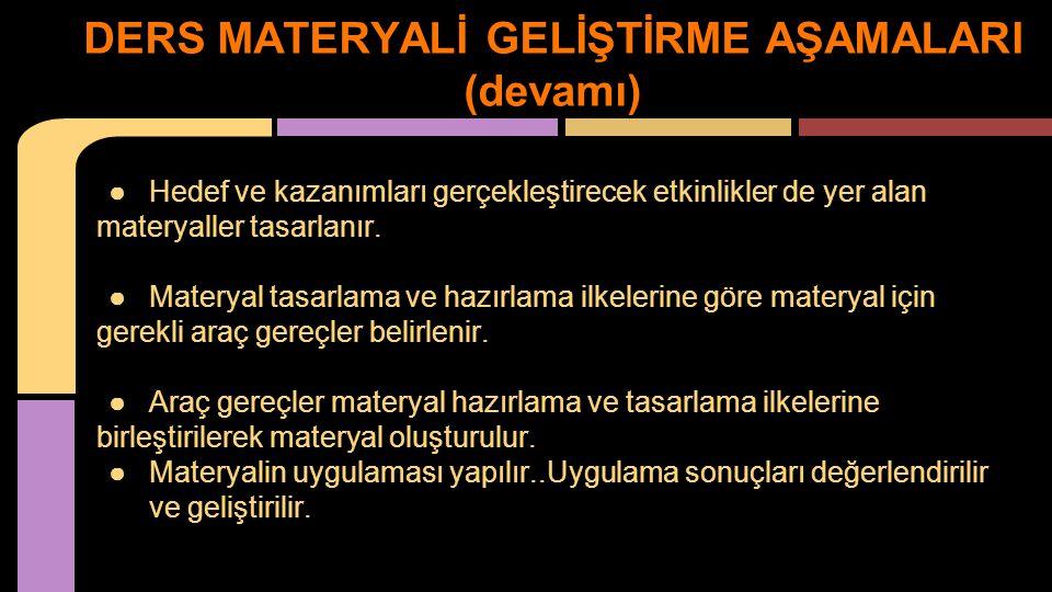 DERS MATERYALİ GELİŞTİRME AŞAMALARI (devamı)