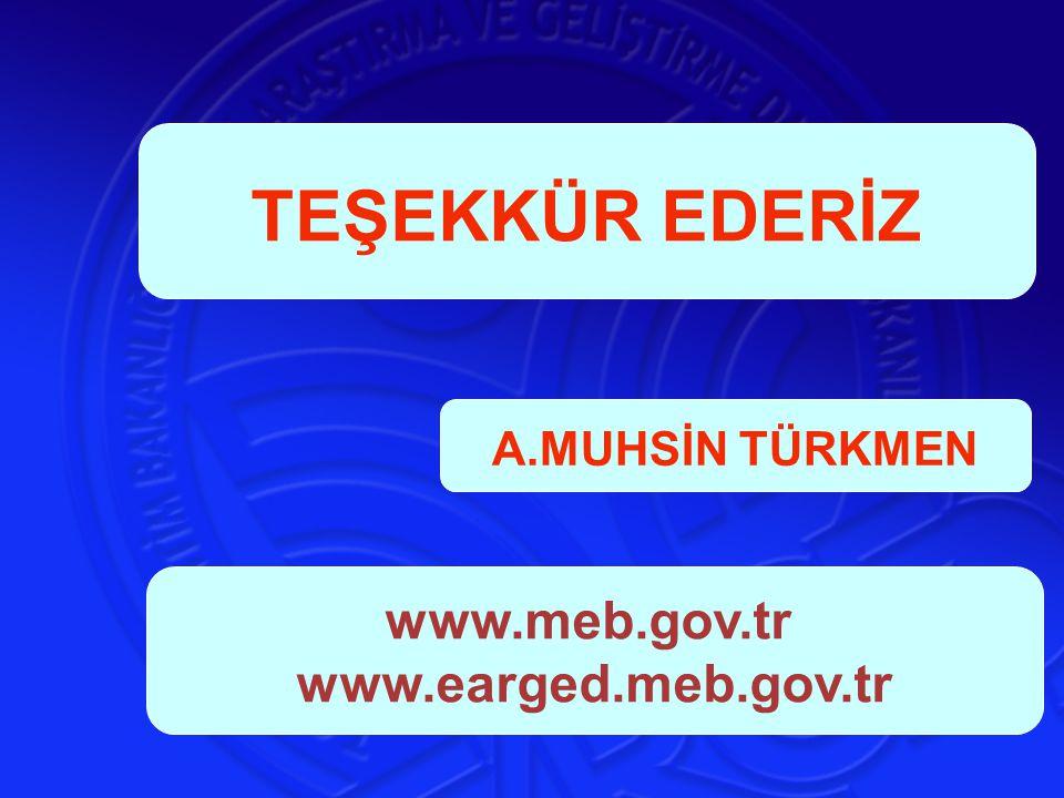 TEŞEKKÜR EDERİZ A.MUHSİN TÜRKMEN www.meb.gov.tr www.earged.meb.gov.tr