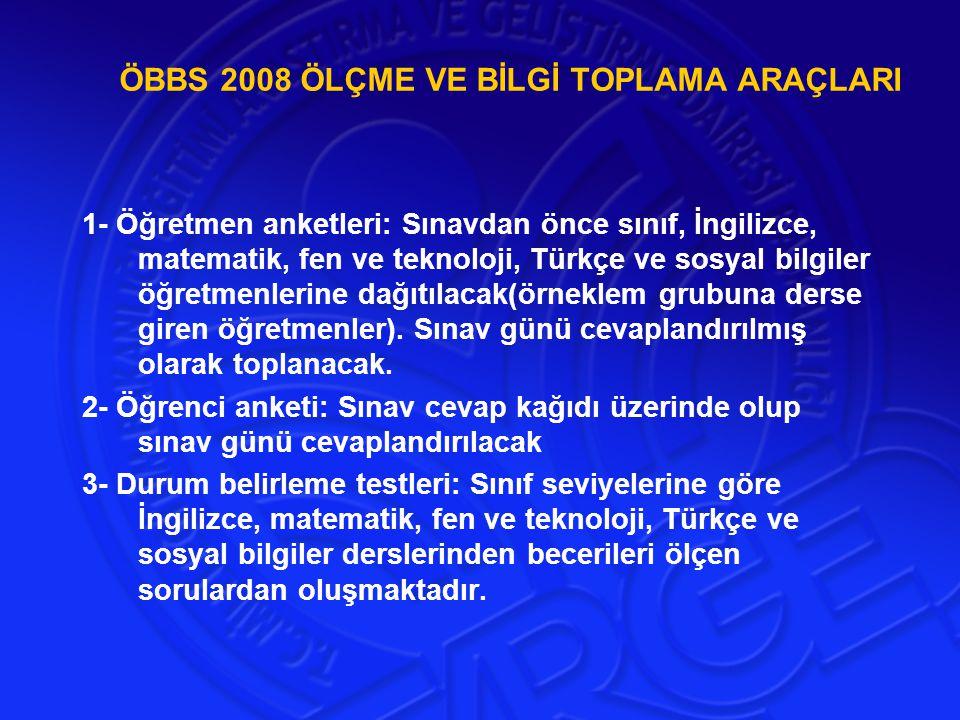 ÖBBS 2008 ÖLÇME VE BİLGİ TOPLAMA ARAÇLARI