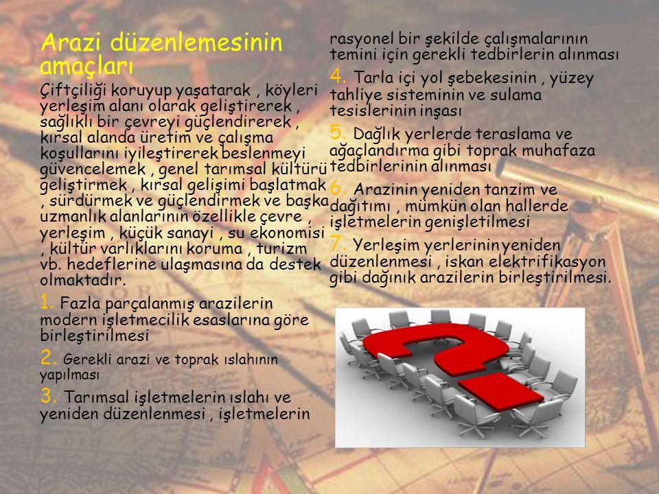 Arazi düzenlemesinin amaçları