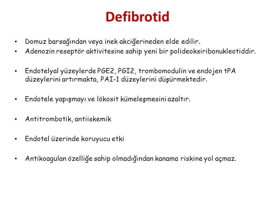 Defibrotid Domuz barsağından veya inek akciğerineden elde edilir.