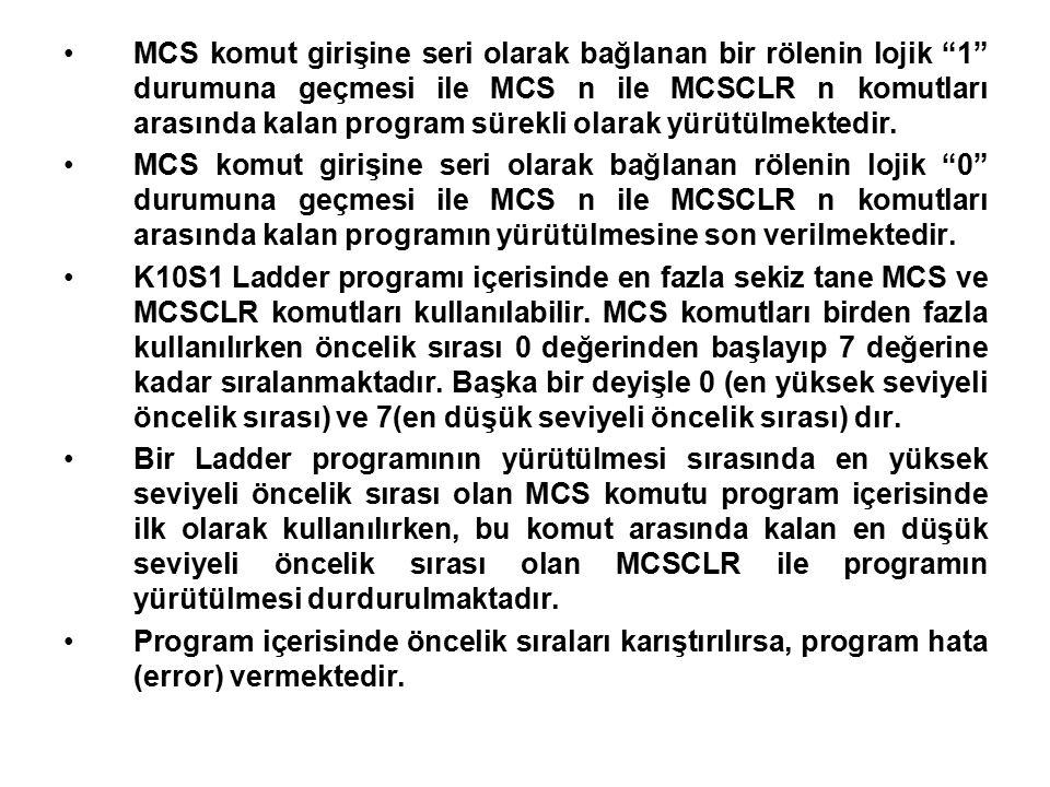 MCS komut girişine seri olarak bağlanan bir rölenin lojik 1 durumuna geçmesi ile MCS n ile MCSCLR n komutları arasında kalan program sürekli olarak yürütülmektedir.