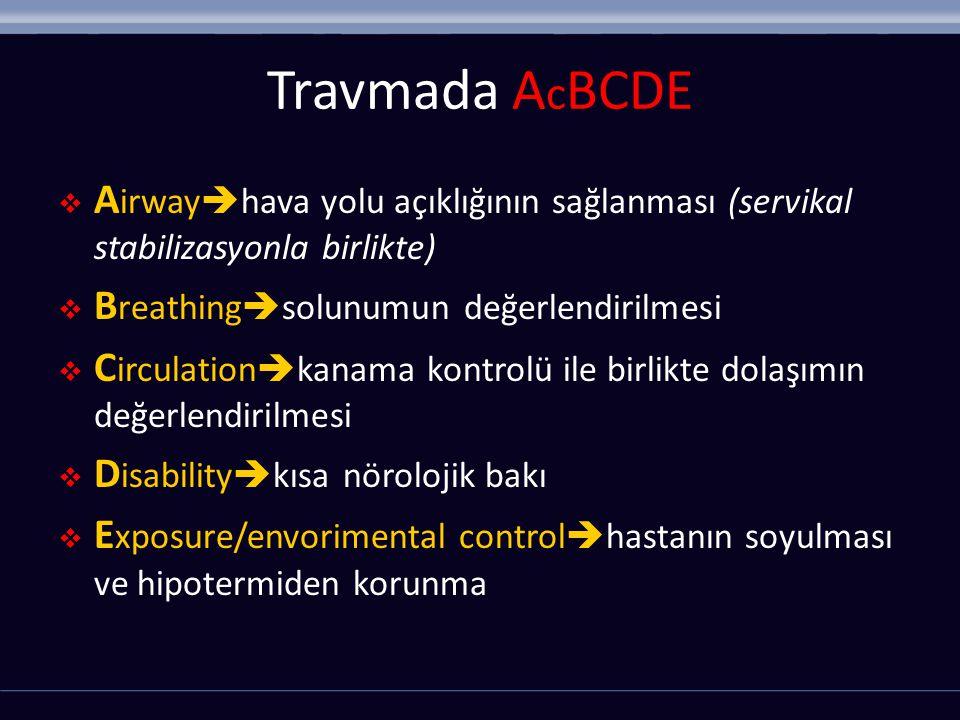 Travmada AcBCDE Airwayhava yolu açıklığının sağlanması (servikal stabilizasyonla birlikte) Breathingsolunumun değerlendirilmesi.