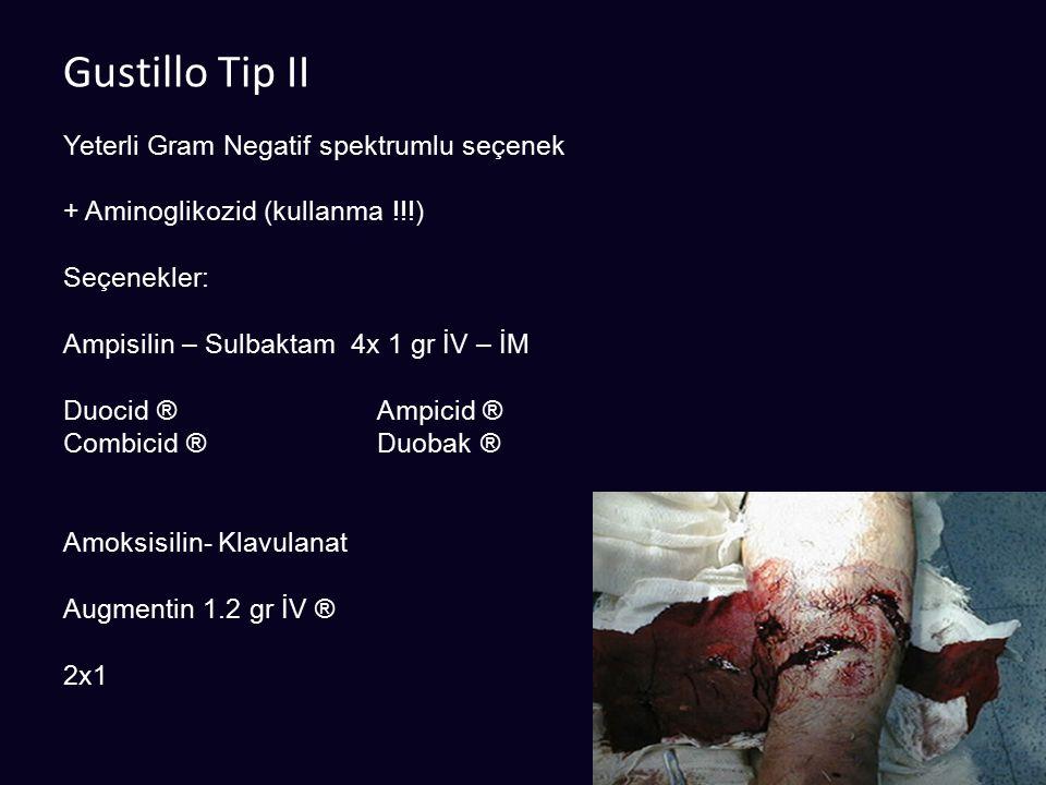 Gustillo Tip II Yeterli Gram Negatif spektrumlu seçenek
