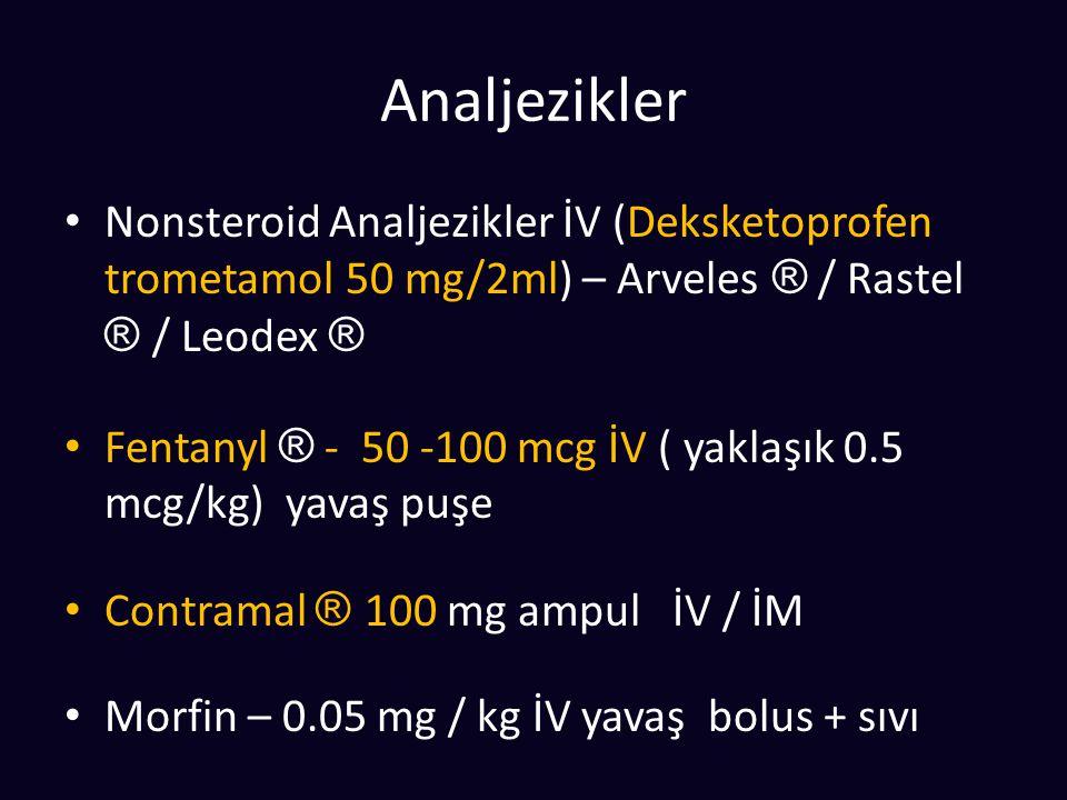 Analjezikler Nonsteroid Analjezikler İV (Deksketoprofen trometamol 50 mg/2ml) – Arveles ® / Rastel ® / Leodex ®