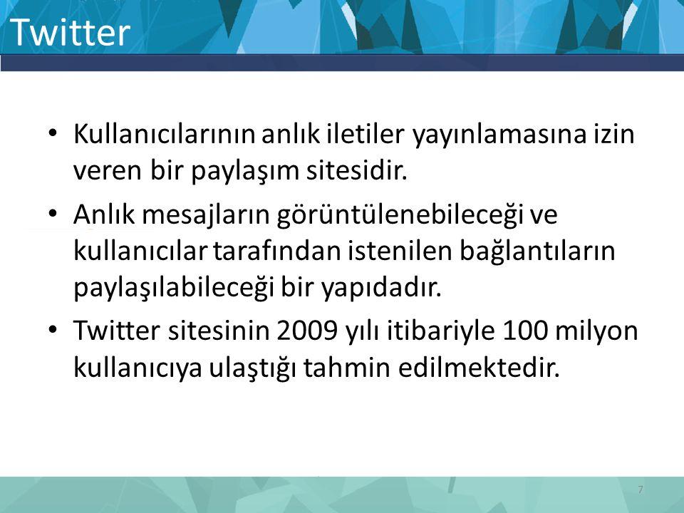 Twitter Kullanıcılarının anlık iletiler yayınlamasına izin veren bir paylaşım sitesidir.