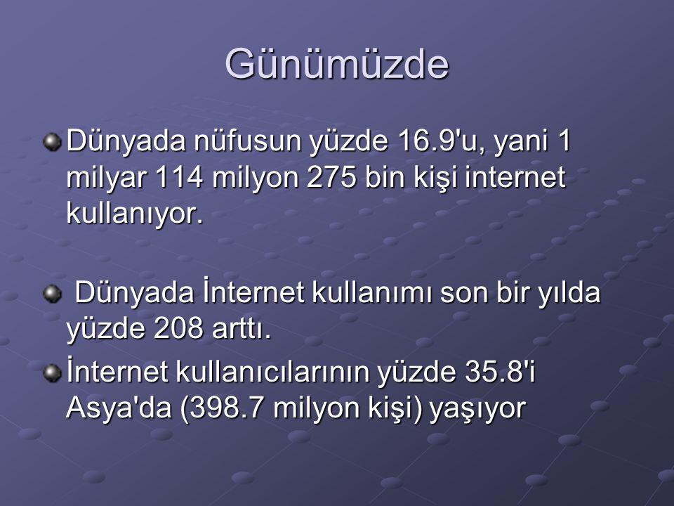 Günümüzde Dünyada nüfusun yüzde 16.9 u, yani 1 milyar 114 milyon 275 bin kişi internet kullanıyor.