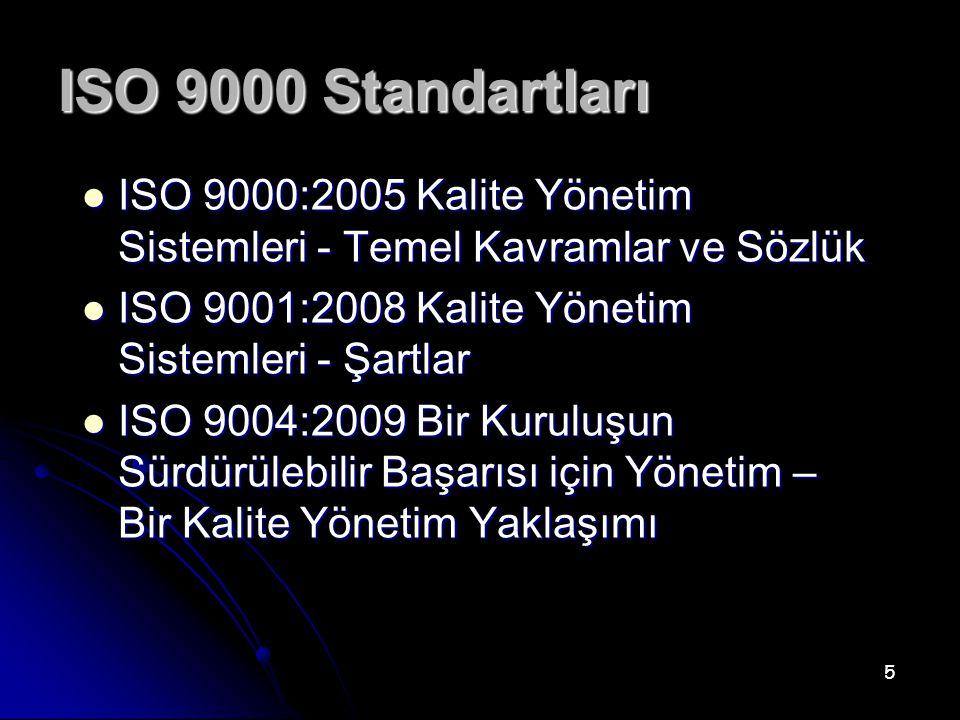 ISO 9000 Standartları ISO 9000:2005 Kalite Yönetim Sistemleri - Temel Kavramlar ve Sözlük. ISO 9001:2008 Kalite Yönetim Sistemleri - Şartlar.