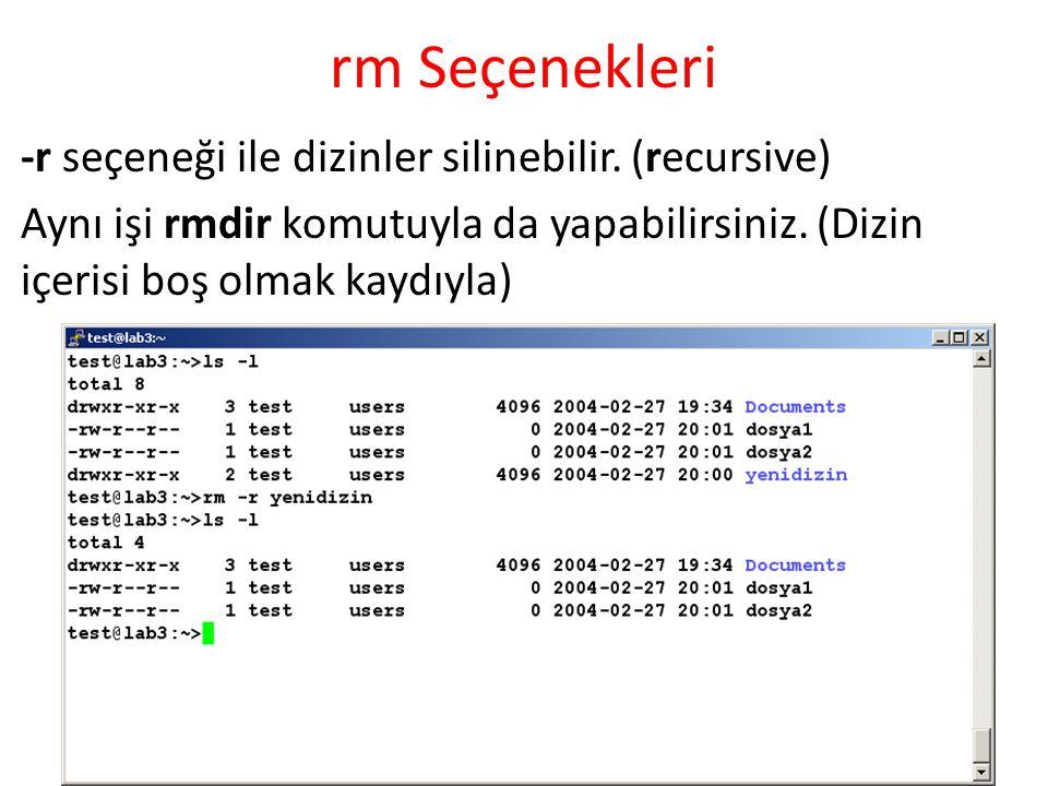 rm Seçenekleri -r seçeneği ile dizinler silinebilir. (recursive)