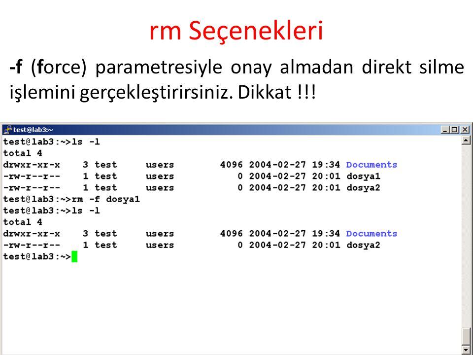 rm Seçenekleri -f (force) parametresiyle onay almadan direkt silme işlemini gerçekleştirirsiniz.
