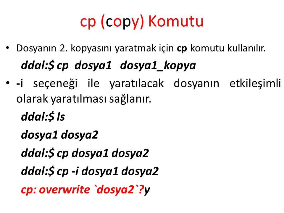 cp (copy) Komutu ddal:$ cp dosya1 dosya1_kopya