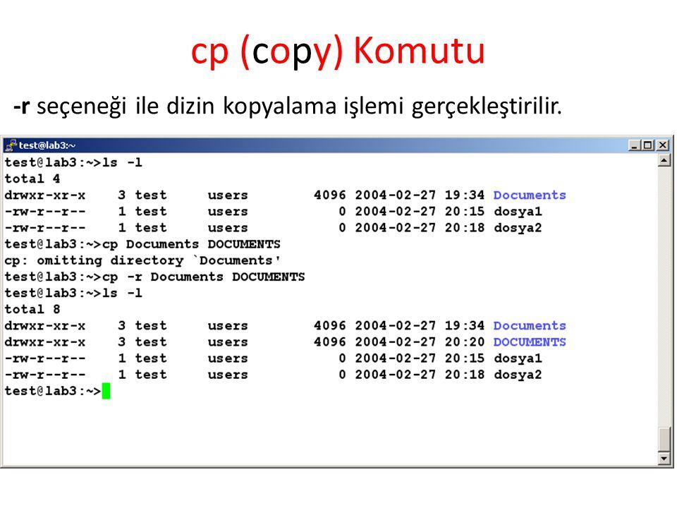 cp (copy) Komutu -r seçeneği ile dizin kopyalama işlemi gerçekleştirilir.