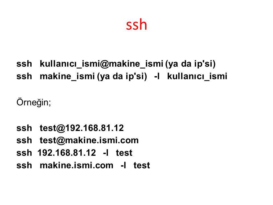 ssh ssh kullanıcı_ismi@makine_ismi (ya da ip si)