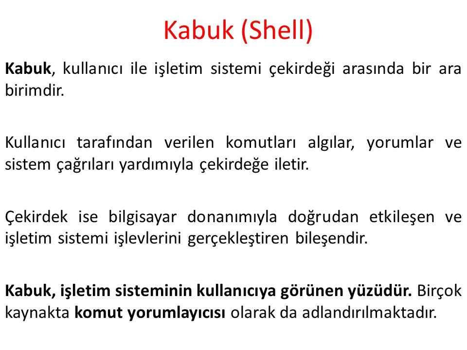 Kabuk (Shell) Kabuk, kullanıcı ile işletim sistemi çekirdeği arasında bir ara birimdir.