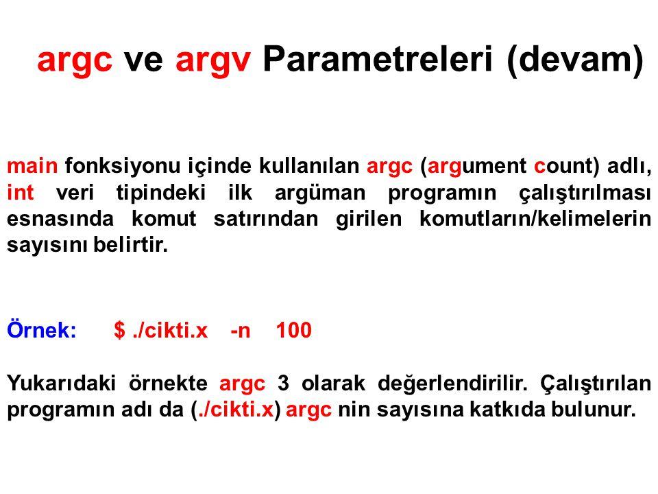argc ve argv Parametreleri (devam)
