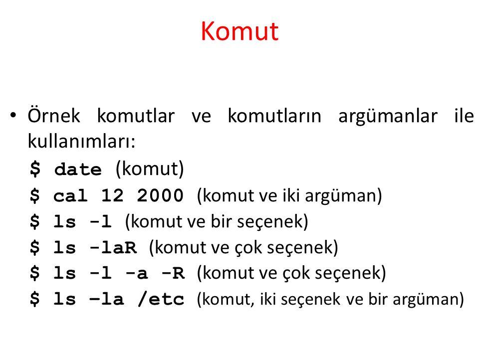 Komut Örnek komutlar ve komutların argümanlar ile kullanımları:
