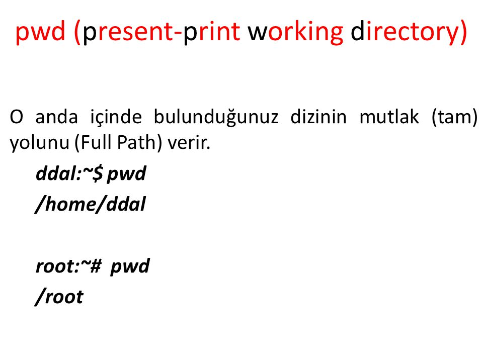 pwd (present-print working directory)‏