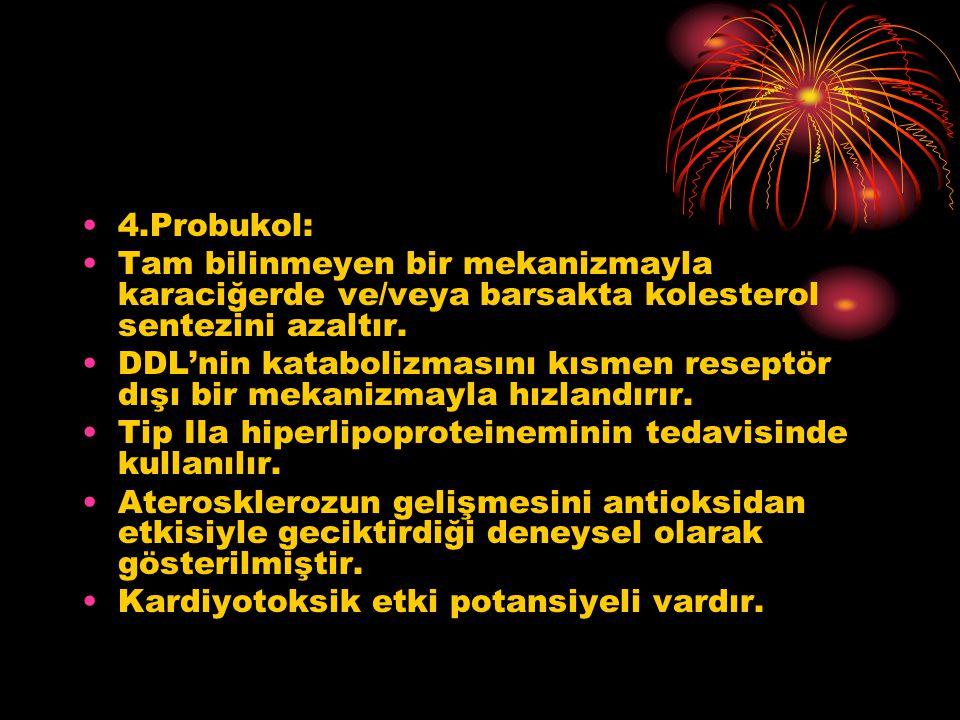 4.Probukol: Tam bilinmeyen bir mekanizmayla karaciğerde ve/veya barsakta kolesterol sentezini azaltır.