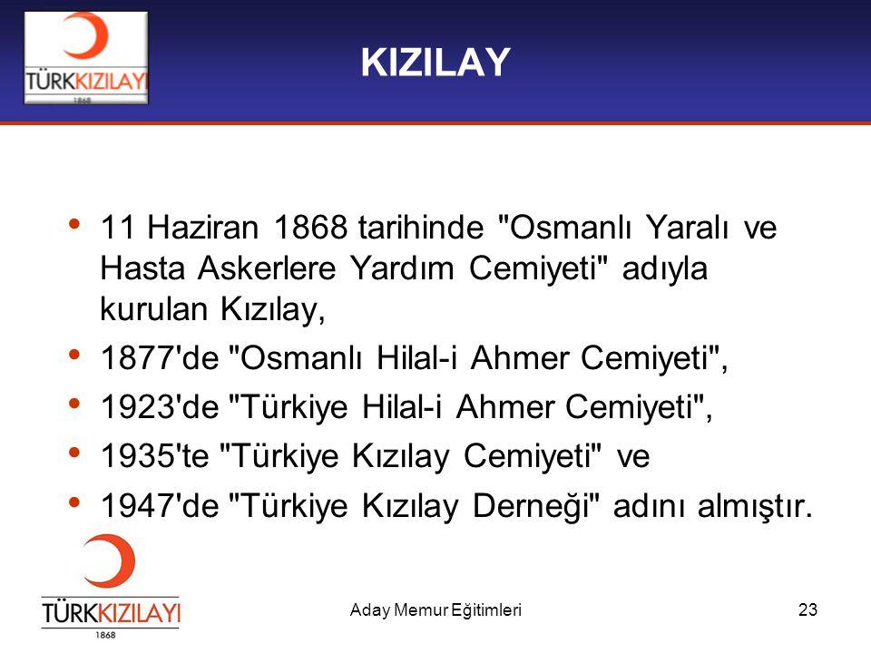 KIZILAY 11 Haziran 1868 tarihinde Osmanlı Yaralı ve Hasta Askerlere Yardım Cemiyeti adıyla kurulan Kızılay,