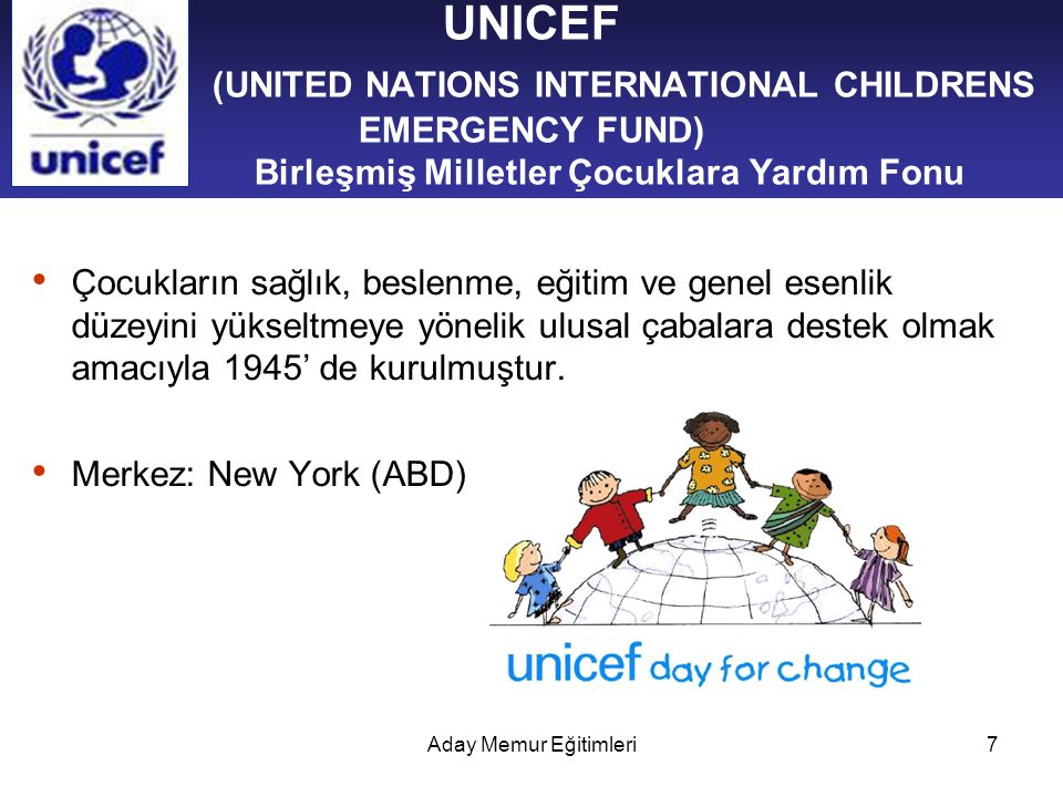 UNICEF (UNITED NATIONS INTERNATIONAL CHILDRENS EMERGENCY FUND) Birleşmiş Milletler Çocuklara Yardım Fonu