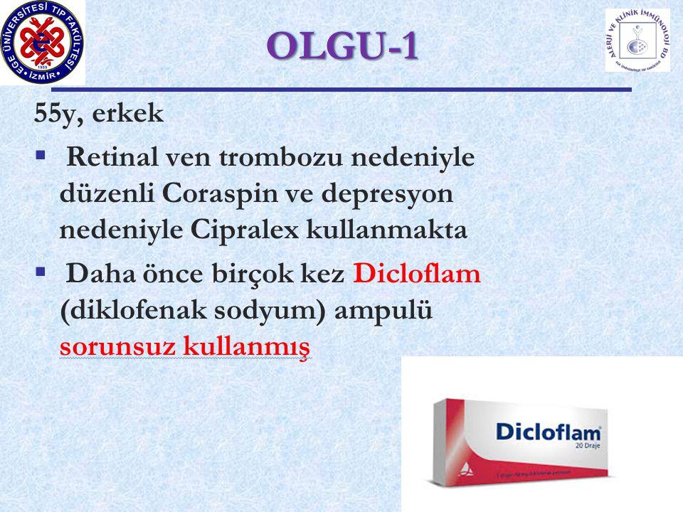 OLGU-1 55y, erkek. Retinal ven trombozu nedeniyle düzenli Coraspin ve depresyon nedeniyle Cipralex kullanmakta.