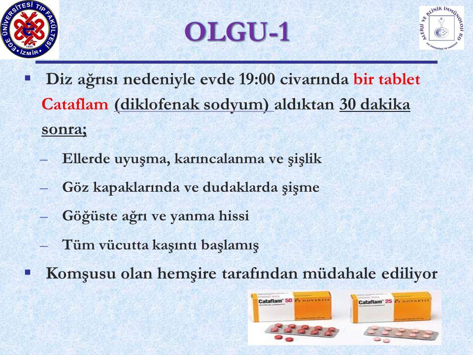OLGU-1 Diz ağrısı nedeniyle evde 19:00 civarında bir tablet Cataflam (diklofenak sodyum) aldıktan 30 dakika sonra;