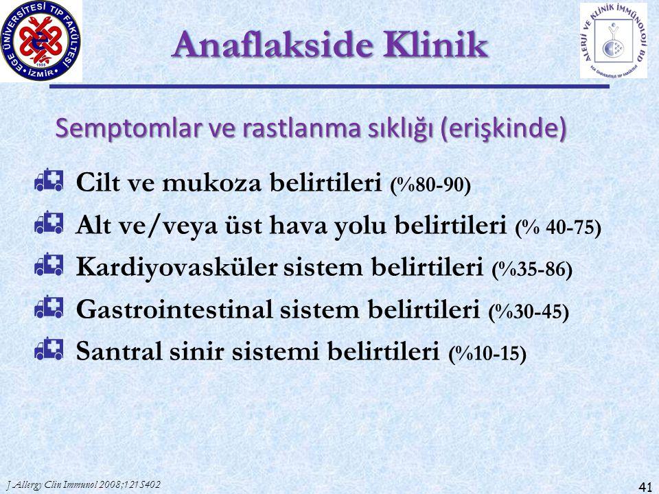 Anaflakside Klinik Semptomlar ve rastlanma sıklığı (erişkinde)