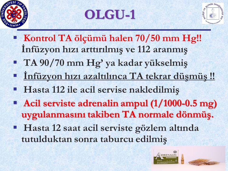 OLGU-1 Kontrol TA ölçümü halen 70/50 mm Hg!! İnfüzyon hızı arttırılmış ve 112 aranmış. TA 90/70 mm Hg' ya kadar yükselmiş.