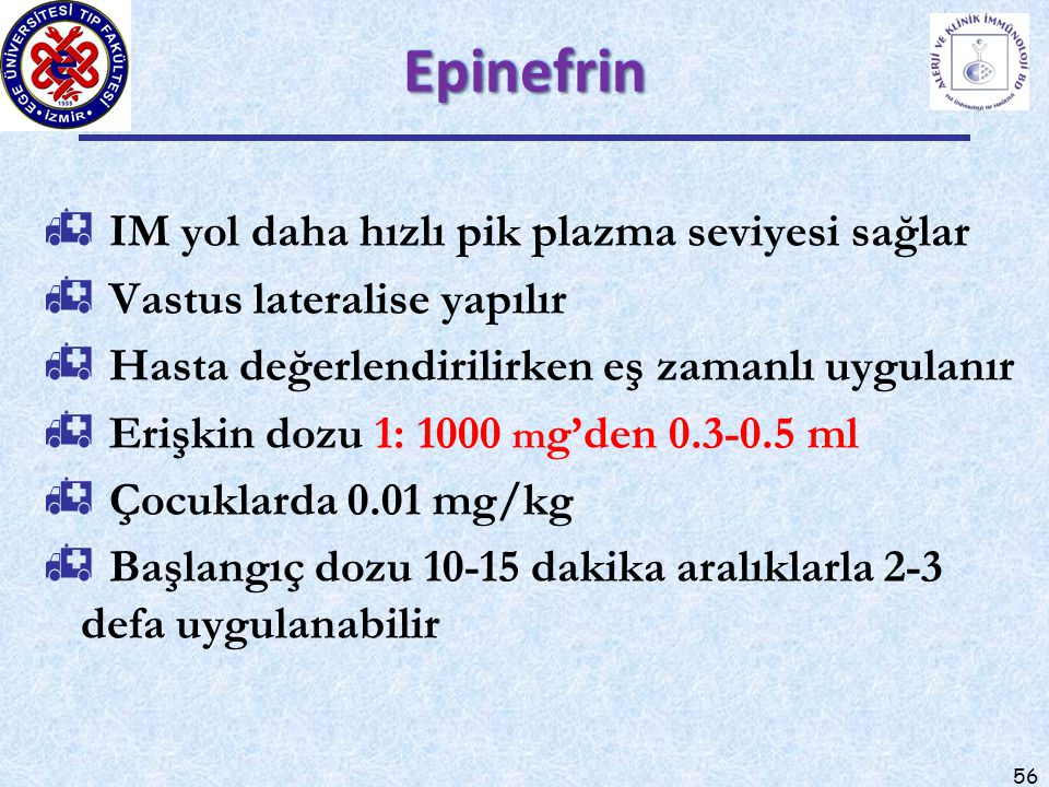 Epinefrin IM yol daha hızlı pik plazma seviyesi sağlar