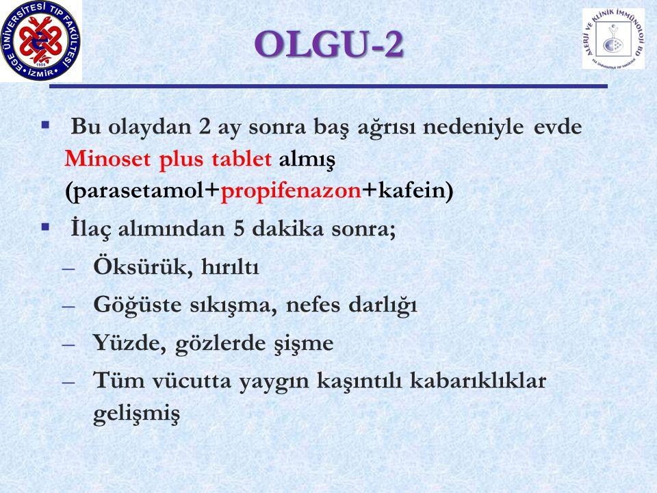 OLGU-2 Bu olaydan 2 ay sonra baş ağrısı nedeniyle evde Minoset plus tablet almış (parasetamol+propifenazon+kafein)
