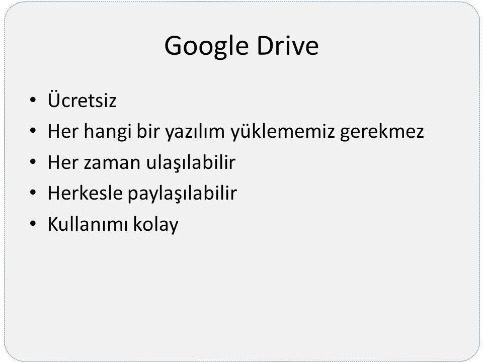 Google Drive Ücretsiz Her hangi bir yazılım yüklememiz gerekmez