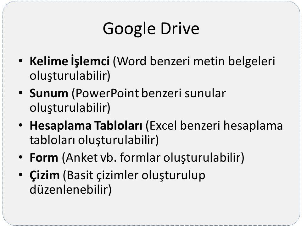 Google Drive Kelime İşlemci (Word benzeri metin belgeleri oluşturulabilir) Sunum (PowerPoint benzeri sunular oluşturulabilir)